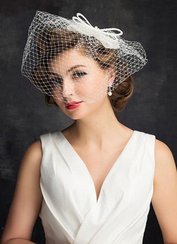 Bridal Wedding Hat Fascinator Tiara Birdcage Veil
