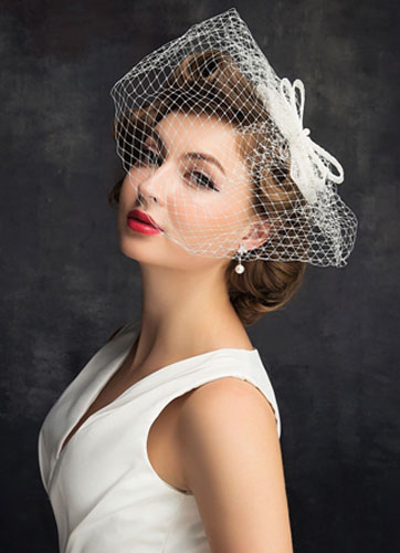 d0273105017dc Bridal Wedding Hat Fascinator Tiara Birdcage Veil - Milanoo.com