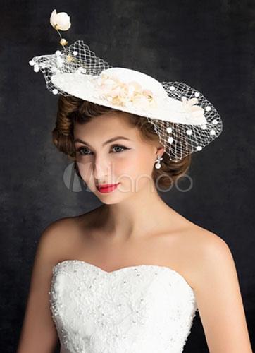 Applique Hochzeit Hut Braut Elfenbein Leinen Kopfbedeckungen