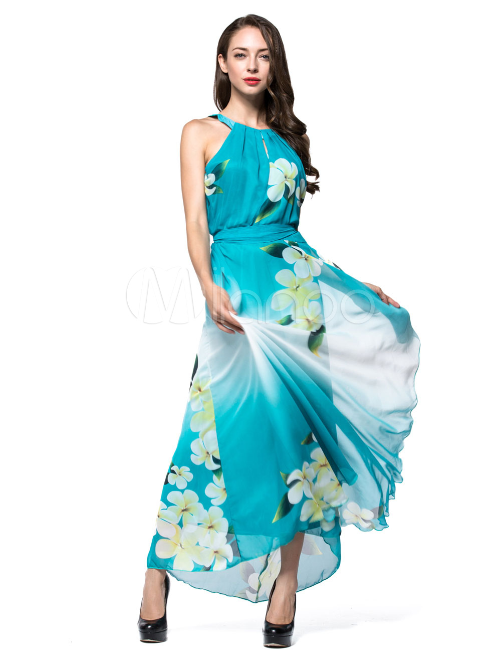 Plus Size Maxi Dress Women's Boho Chiffon Crewneck Sleeveless Floral Printed Cut Out Floor Length Dress
