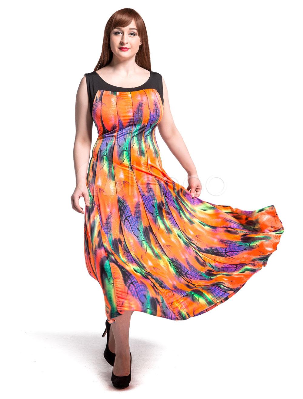 Milanoo / Sleeveless Maxi Dress Pleated Chiffon Plus Size Long Dress For Women
