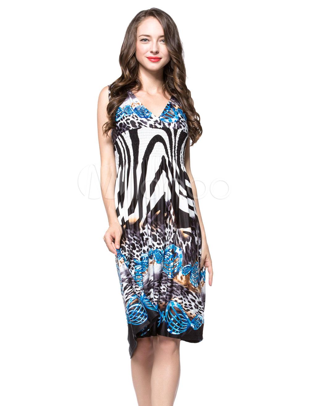 Buy Pleated Plus Size Dresss Women's Chiffon Sleeveless Leopard Print V-neck Summer Dress for $35.99 in Milanoo store