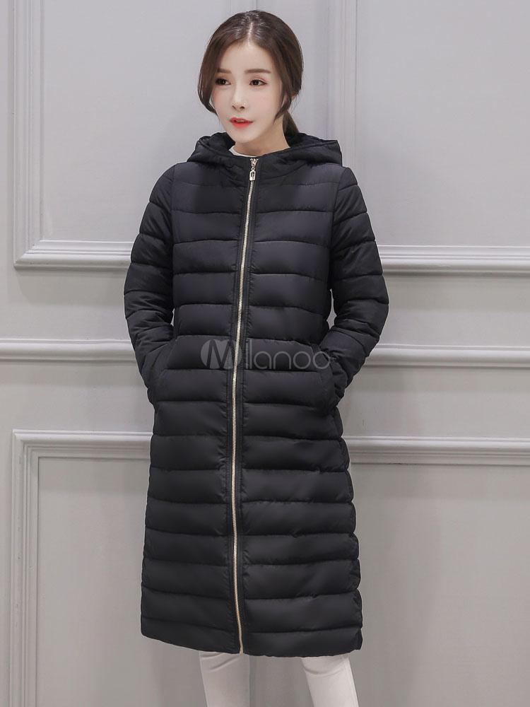 Manteau long a capuche femme hiver
