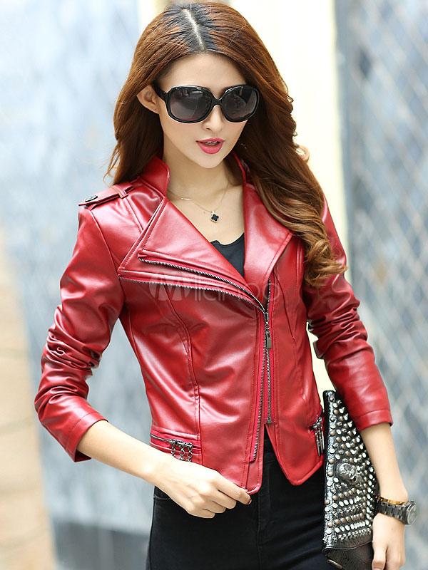 Red Moto Jacket Women's Long Sleeve Turndown Collar Zipper PU Leather Jacket
