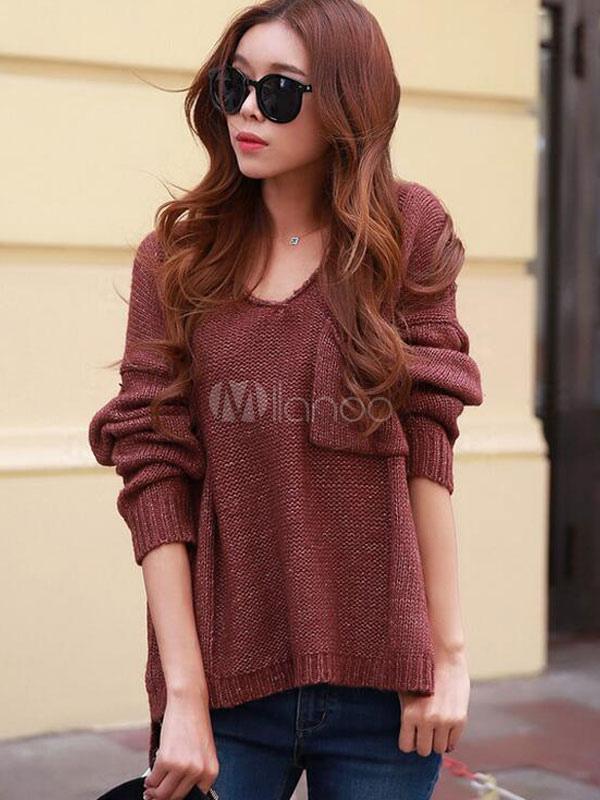 online retailer a2212 714e3 Brauner Pullover stricken Ausschnitt Schlitz wieder hoch niedrig Damen  Pullover Pullover
