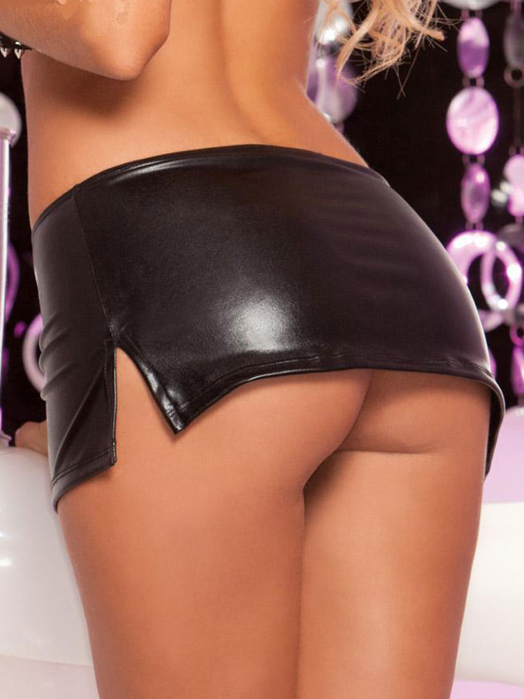 Split Club Bottom Womens Black Pu Sexy Mini Skirt Milanoocom
