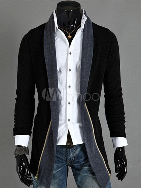 Lungo maniche cardigan uomo cotone Fit cappotto In nero grigio-No.1 ... 62faa42fbc4