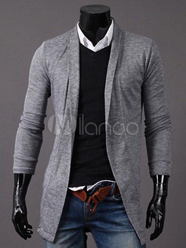 Cotone cardigan manica lunga moderna forma cappotto uomo - Milanoo.com 52da13c3502