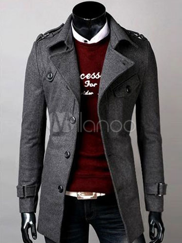 Black Overcoat Cotton Turndown Collar Trench Overcoat Front Button Men Winter Coat