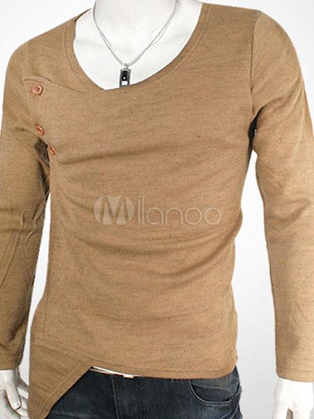 Algodón Asimétrica Camiseta Larga Hombres Manga Los De XulOkiTwPZ