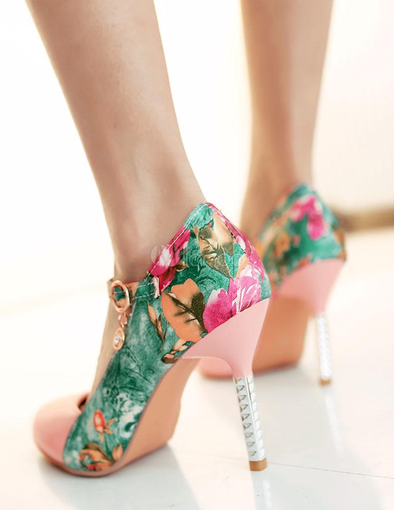 Zapatos de tacón alto frente puntiagudo de las mujeres flor impresas bombas 3bN274q0