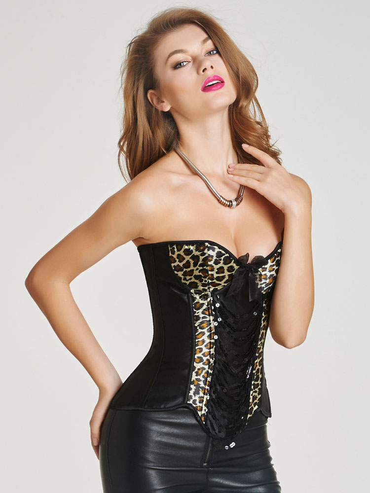Black Overbust Corsets In Leopard Print Lace Up Dreaped Straps Front Waist Trainer
