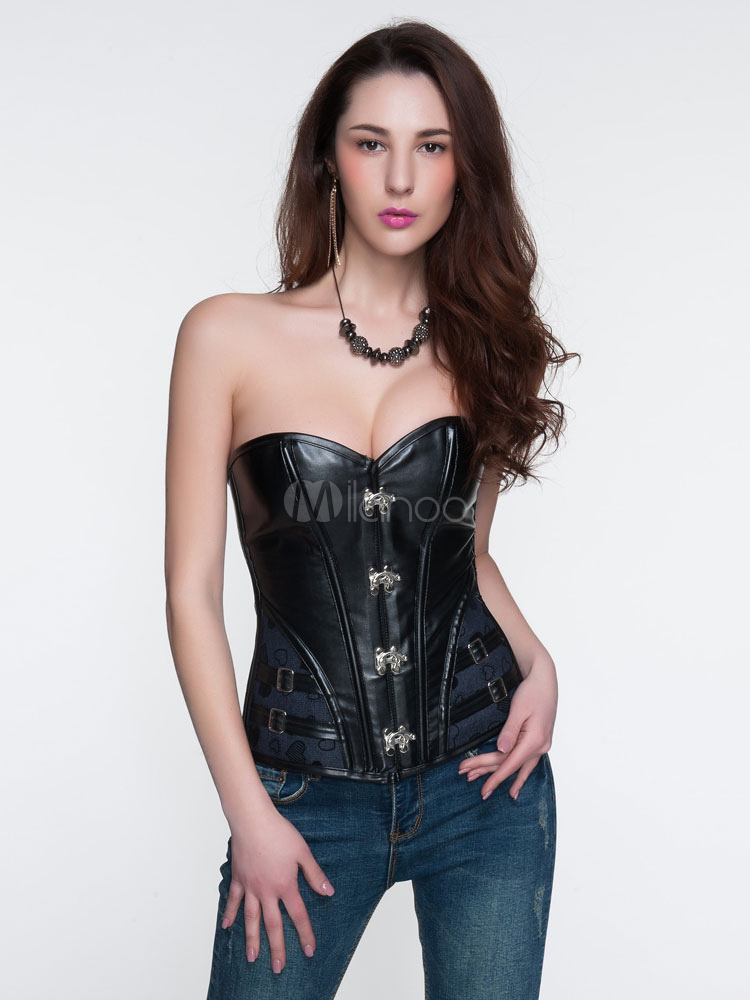 Black Overbust Corsets Steampunk Pu Lace Up Waist Trainer