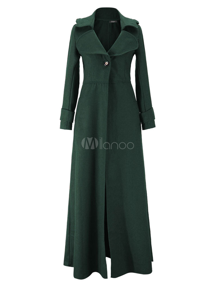 4cf12fb979caf ... Red Trench Coat High Waisted Button Long Sleeve Notch Collar Floor  Length Overcoat For Women- ...