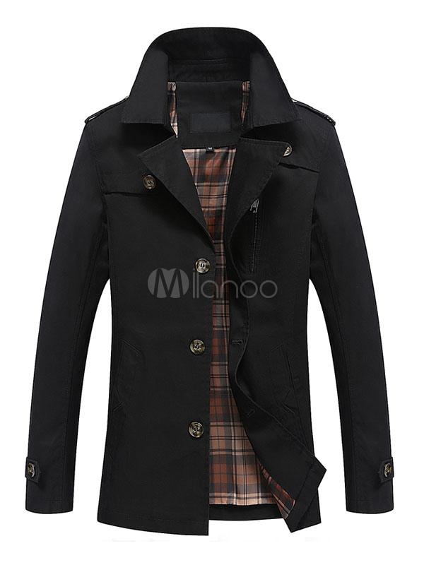 Men Trench Coat Black Spring Coat Turndown Collar Long Sleeve Jacket