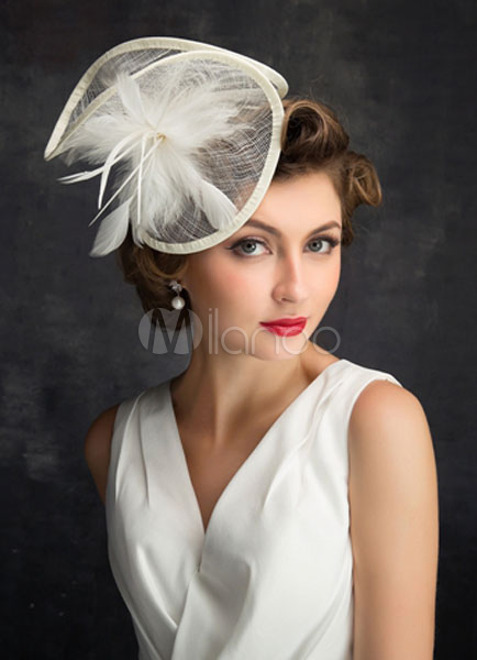Bridal Headpieces Feather Wedding Hat Tulle Fascinators Hat Wedding Hair Flower ( 20cm X 50 Cm)