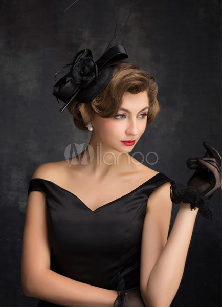 Black Wedding Hats Feather Tulle Bridal Headpieces