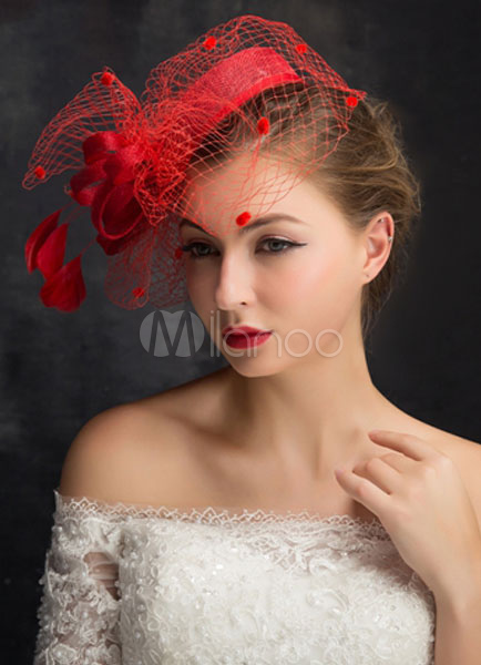 Birdcage Veil Wedding Hat Red Fascinators Bridal Feather Headpieces 15cm X 50 Cm
