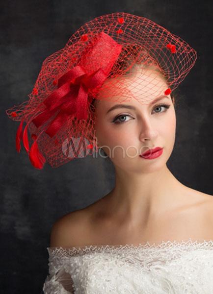 Vogelkafig Schleier Hochzeit Hut Rot Headpiece Fascinator Hut