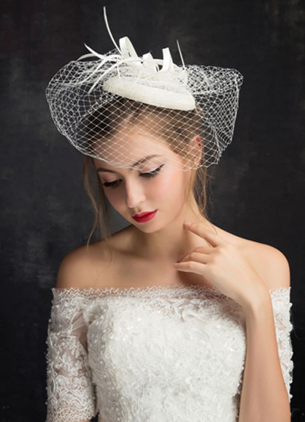 Buy Royal Wedding Hat Feather Tulle Birdcage Veil Bridal Headpieces (15 Cm X 15 Cm ) for $17.99 in Milanoo store