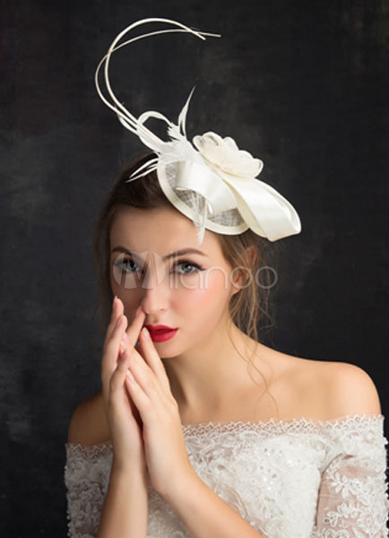Buy Ivory Wedding Hat Feather Tulle Fascinator Bridal Headpieces for $15.99 in Milanoo store