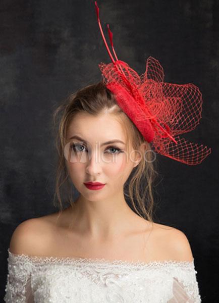 Buy Net Wedding Hat Bridal Headpieces Feather Tulle Fascinators Hat (15cm X 50 Cm) for $15.99 in Milanoo store