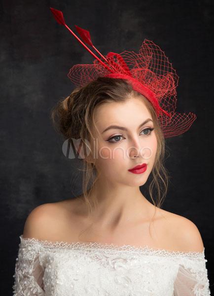 Net Hochzeit Hut Braut Kopfbedeckungen Feder Tull Headpiece