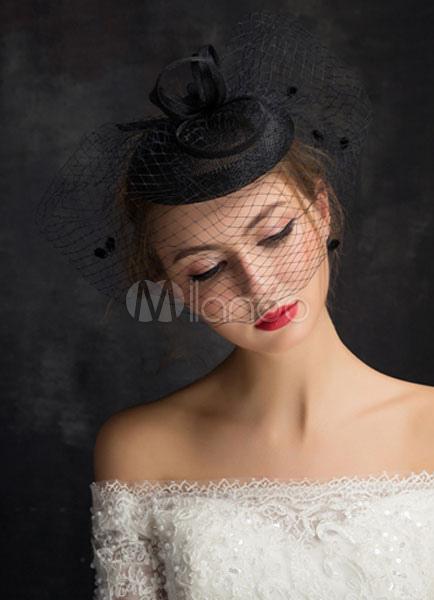 Buy Black Wedding Hat Bridal Headpieces Tulle Feather Birdcage Veil  (15cm X 50 Cm) for $17.99 in Milanoo store