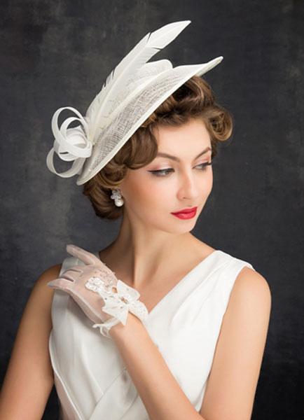 Elfenbein Hochzeit Hut Braut Feder Tull Kopfbedeckungen Milanoo Com