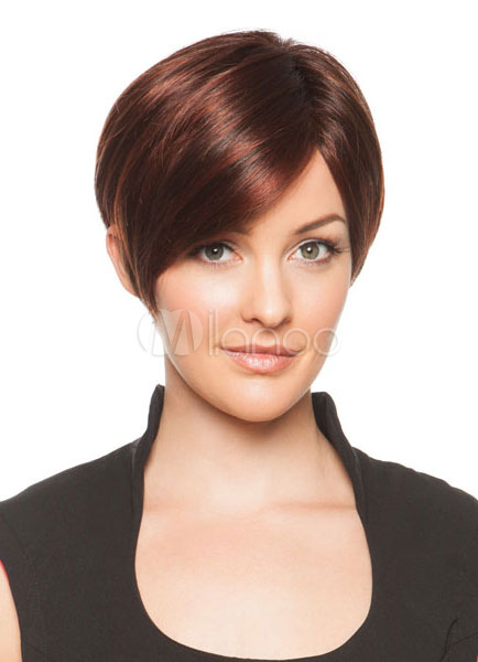 Buy Chestnut Brown Wigs Women's Side-swept Heat-resistant Fiber Short Straight Hair Wigs for $22.49 in Milanoo store