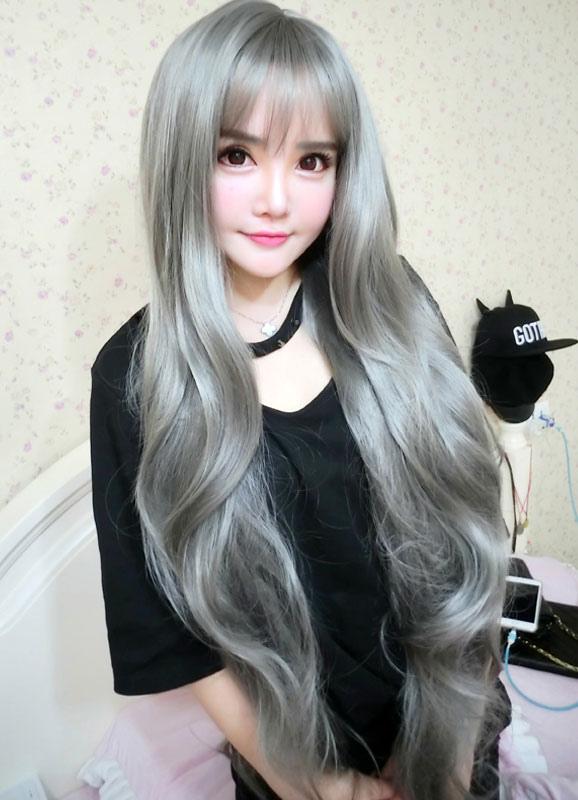 Women S Long Wigs Silver Gray Wavy Synthetic Hair Wigs