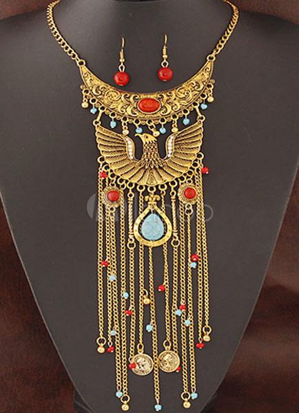 72636efe9e78 Egipto declaración aleación Set largo collar con aretes - Milanoo.com