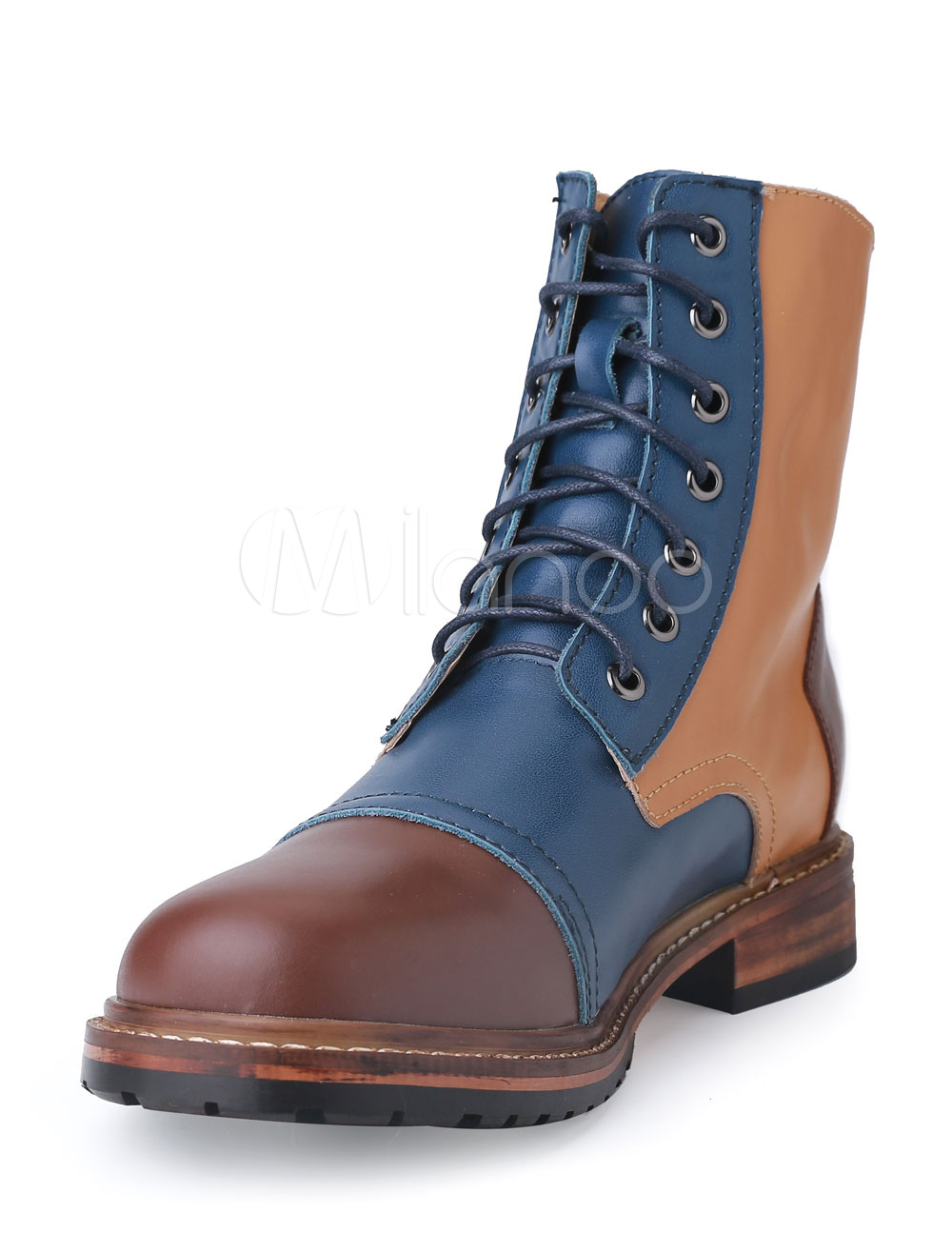 Men's Martin Shoes Lace Up Contrast Color Round Toe PU Leather Boots