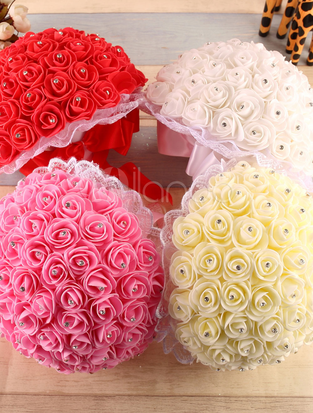 Bridal Wedding Bouquet Rose Rhinestones Satin Wedding Flower Party Hand-tied ( 26 Cm X 22 Cm)