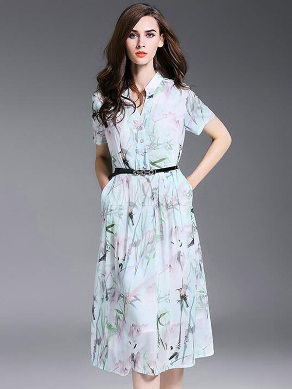 Milanoo / Pleated Skater Dress Short Sleeve Floral Print Women's Flare Dress With Belt