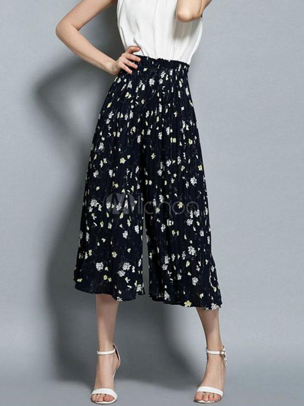 42caaea91 ... Calças de perna larga preta Floral impressão Casual solta calça  feminina-No.3 ...