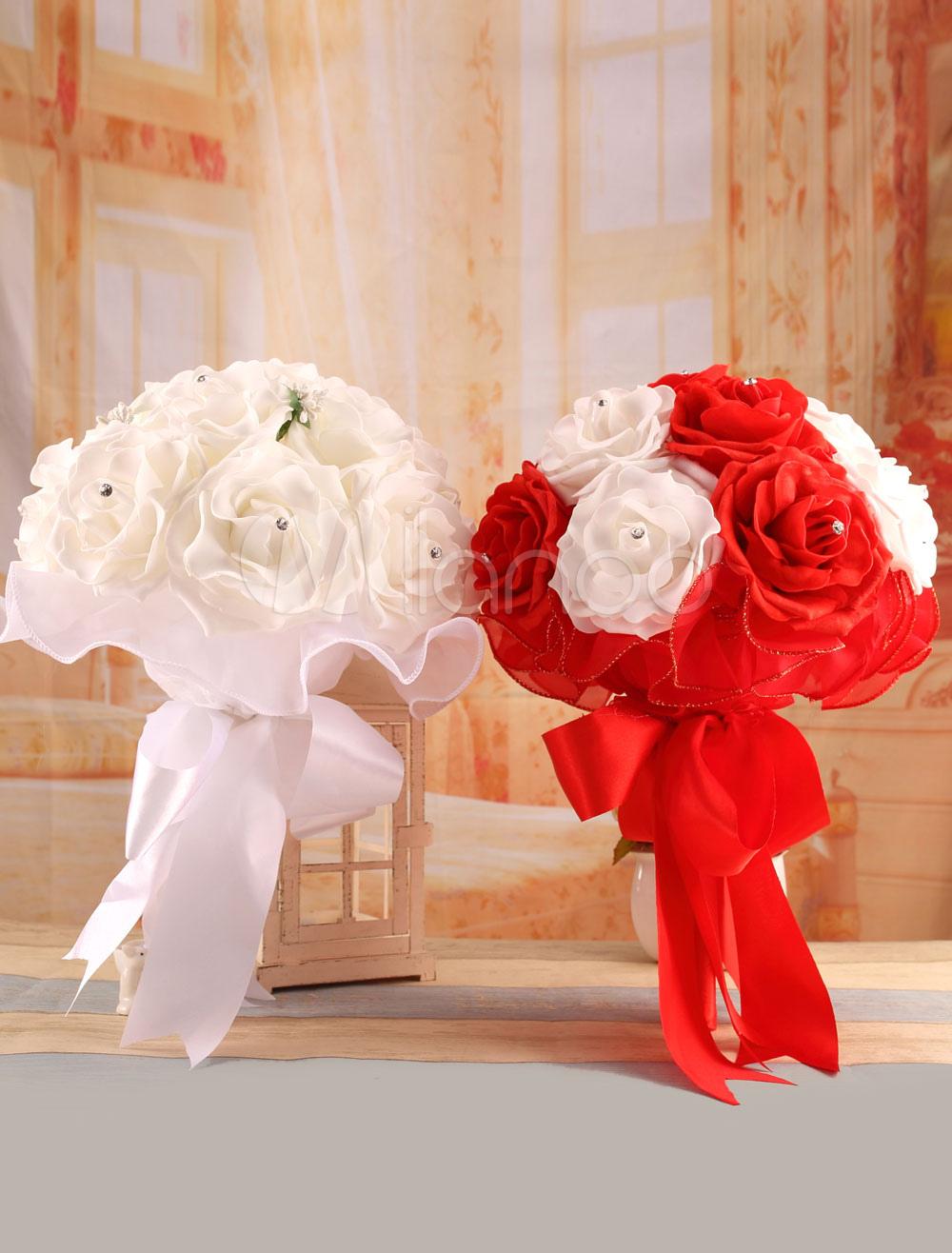 Rose Wedding Bouquet Rhinestone Studded Satin Bridal Flower ( 37 Cm X 25 Cm)