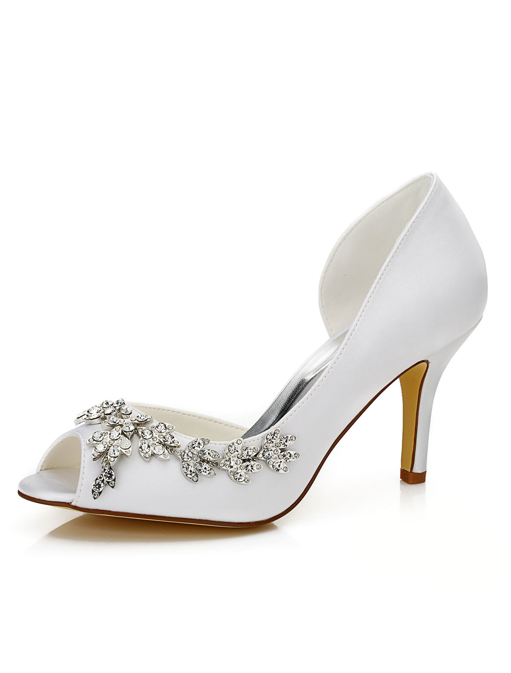 Peep Wedding Shoes White Jeweled Cut-out Slip-on High Heel Bridal Shoes