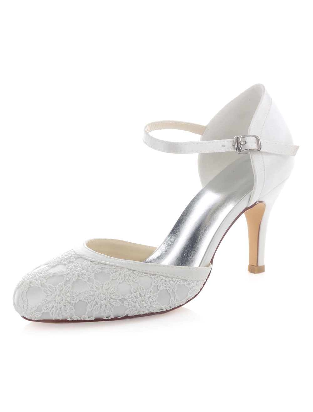 White Wedding Shoes Lace Round Toe Adjustable Strap Buckle High Heel Bridal Shoes
