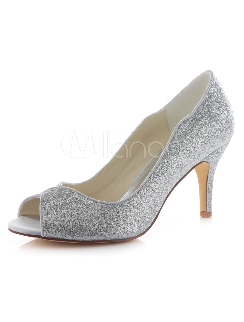 Silver Wedding Shoes Peep Glitter High Heel Bridal Shoes