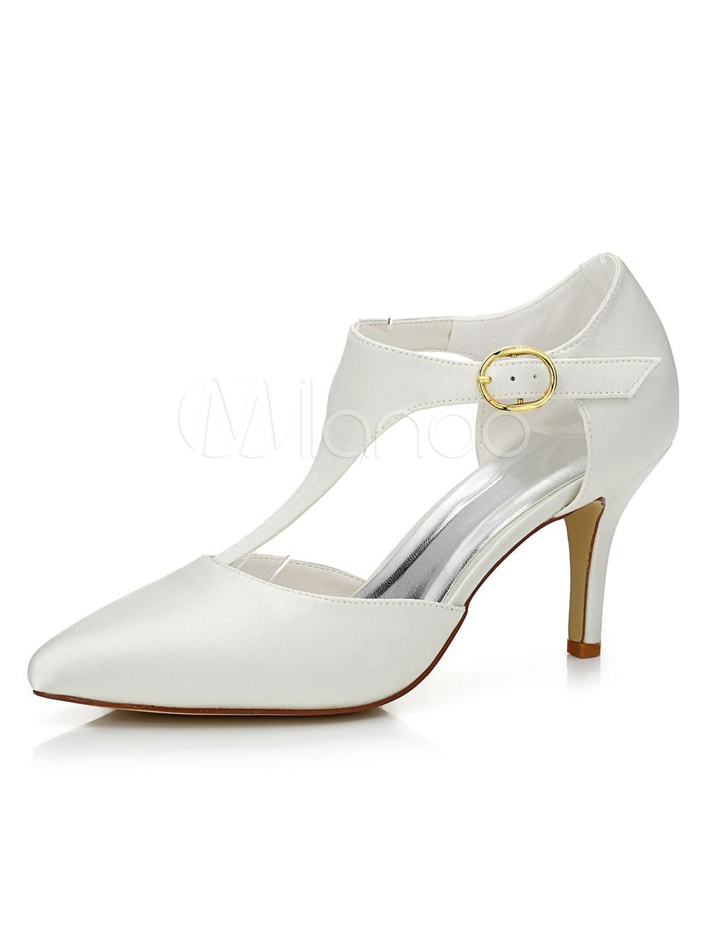Beige Wedding Shoes Pointed T-strap Buckle Elegant High Heel Bridal Shoes