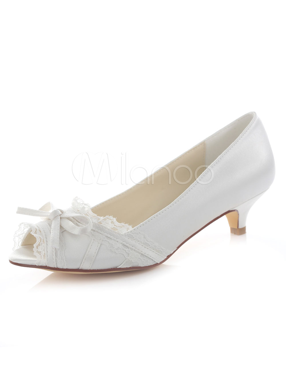Ivory Wedding Shoes Women's Lace Bow Peep Toe Slip On Kitten Heel Pumps