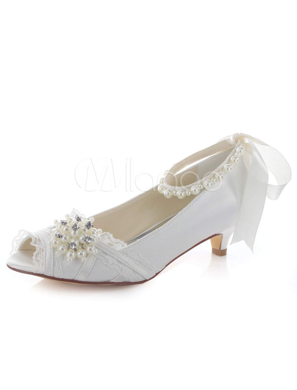 Buy Ivory Wedding Shoes Peep Toe Bow Pearl Slip On Ankle Strap Kitten Heel Bridal Shoes for $55.09 in Milanoo store