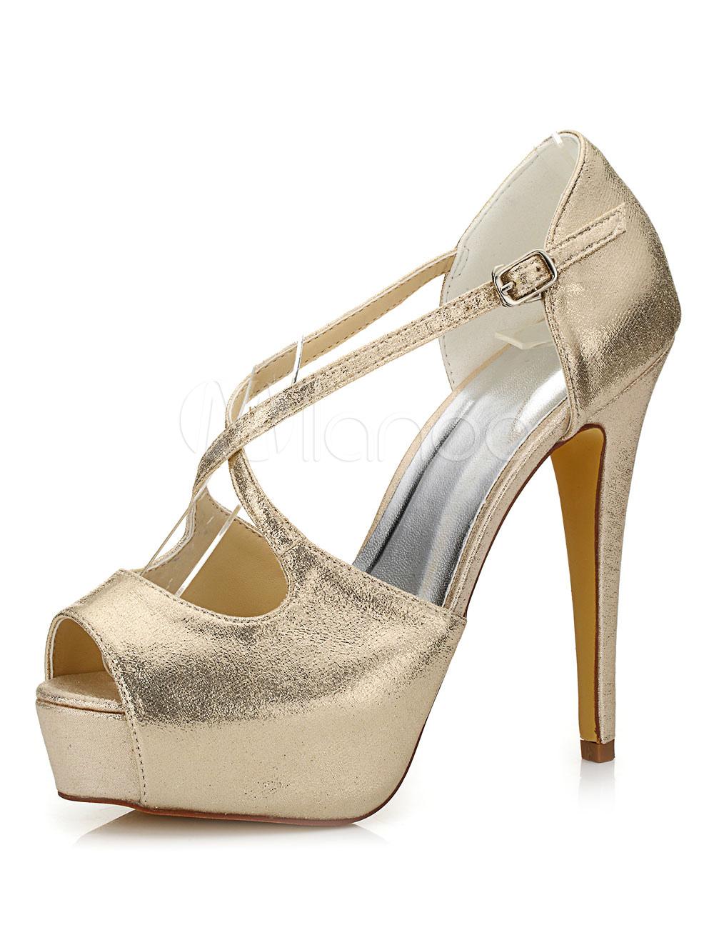 Buy Peep Wedding Shoes Platform Sandals Women's High Heel Criss-Cross Stiletto Bridal Shoes for $56.99 in Milanoo store