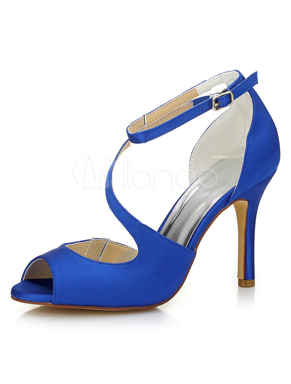 Blue Wedding Shoes Peep Sandals Women's High Heel Ankle Strap Stiletto Satin Bridal Shoes