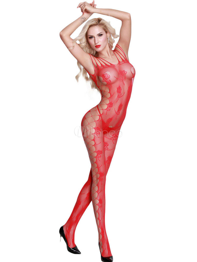 Red Sexy Lingerie Crotchless Sheer Cutout Stretchy Bodystocking