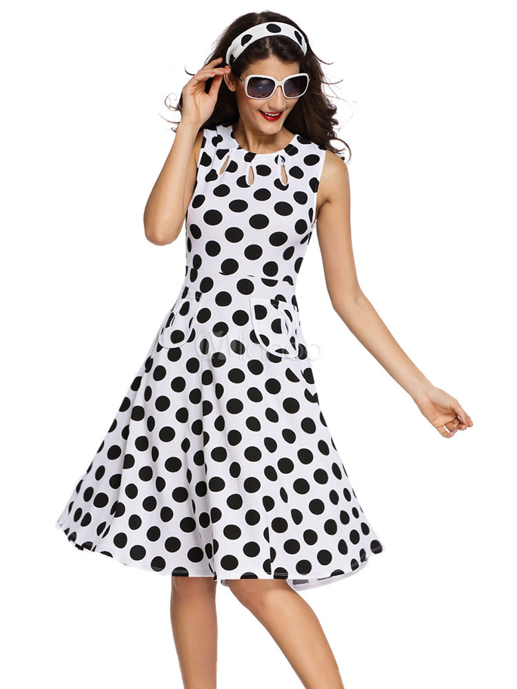 White Vintage Dresses Polka Dot Sleeveless Sweet Fit Flare Dress For Women