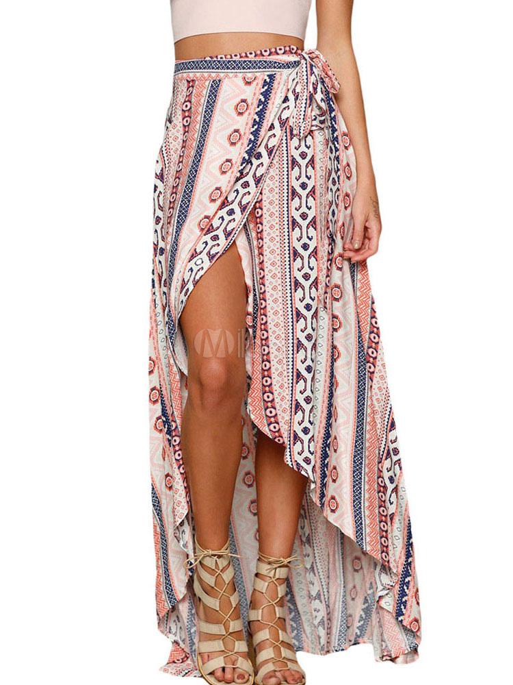 Beach Maxi Skirt Bohemian Geometric Print High Low Skirt For Women