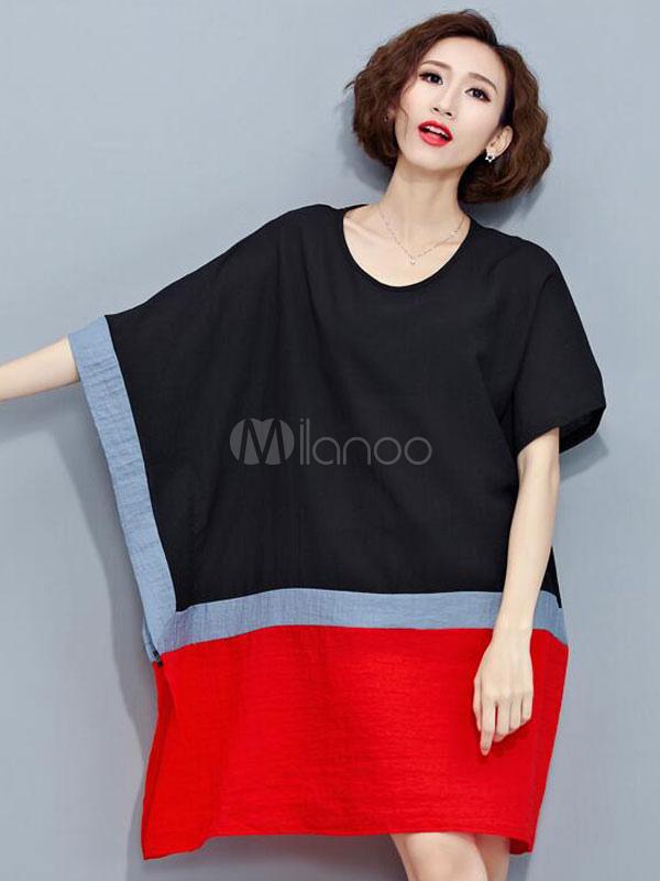c3fab49ebae Plus Size Shift Dress Women s Half Sleeve Color Block Oversized T-shirt  Dress- ...