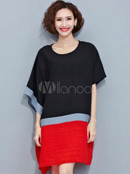 4ed5c5c6168 ... Plus Size Shift Dress Women s Half Sleeve Color Block Oversized T-shirt  Dress- ...